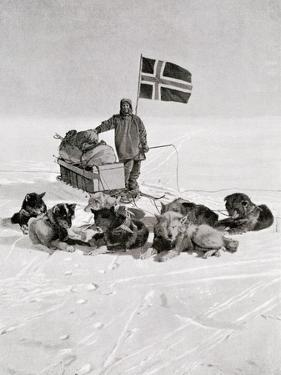 Captain Roald Amundsen at the South Pole, 1912, from 'The Year 1912', Published London, 1913