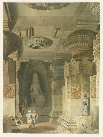 Interior of the Cave Temple of Indra Subba at Ellora
