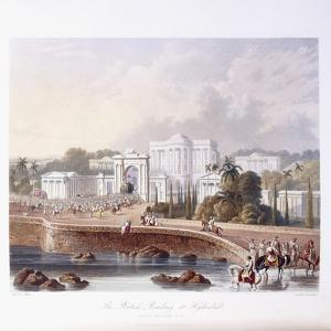 The British Residency at Hyderabad, 1813 ; 1830 (Hand-Coloured.) by Captain Robert M. Grindlay