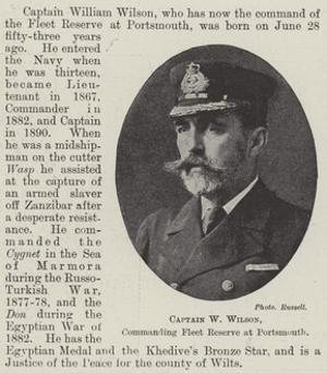 Captain W Wilson, Commanding Fleet Reserve at Portsmouth