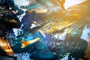 Very Beautiful Art. Abstract Background. Blue and Gold Paint. Golden Sequins by CARACOLLA