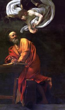 Saint Matthew Writing, Inspired by an Angel, 1600-1602 by Caravaggio