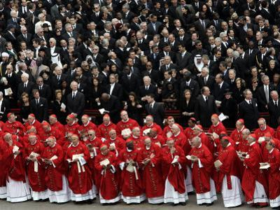 Cardinals, in Red, Participate in the Funeral Mass for Pope John Paul II