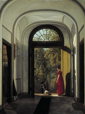 The Artist's Wife and Child in the Hall of their House on the Lijnbaansegracht by Carel Hansen