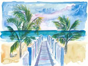 Caribbean Beach Walk Through Palms to the Blue by M Bleichner