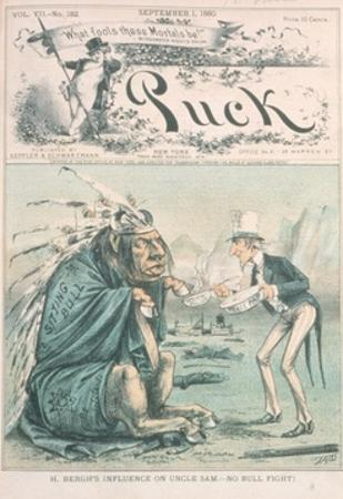 Caricature of Uncle Sam and Sitting Bull