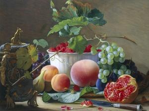 Still Life of Figs, Peaches and Rapberries by Carl Balsgaard