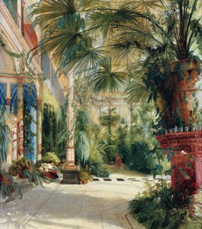 The Interior of the Palm House, 1832-1833 by Carl Blechen