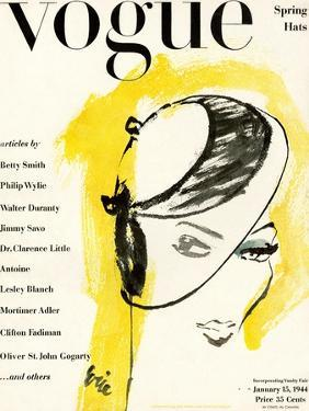 """Vogue Cover - January 1944 by Carl """"Eric"""" Erickson"""