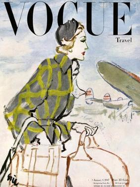 """Vogue Cover - January 1947 - Travel Fashion by Carl """"Eric"""" Erickson"""