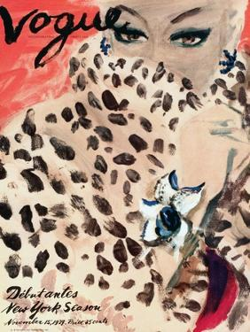 "Vogue Cover - November 1939 - Leopard Love by Carl ""Eric"" Erickson"