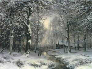 Wooded Winter Landscape, c.1899 by Carl Fahrbach