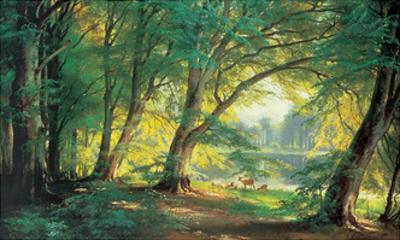 Deer in a Forest by Carl Frederic Aagaard