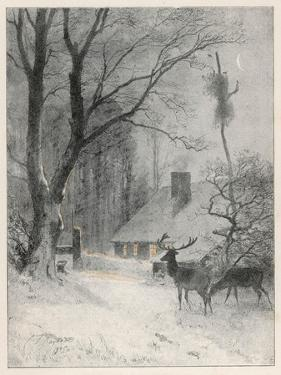 In the Cold Weather the Wild Deer Come Closer to the House by Carl Frederic Aagaard