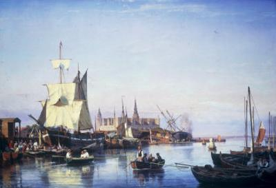 Elsinore Harbour, the Customs House and Kronborg Castle Beyond, 1859