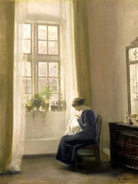 A Girl Sewing in an Interior by Carl Holsoe