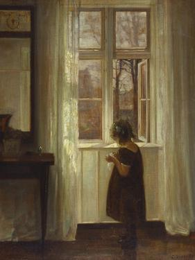 A Girl Standing at a Window by Carl Holsoe