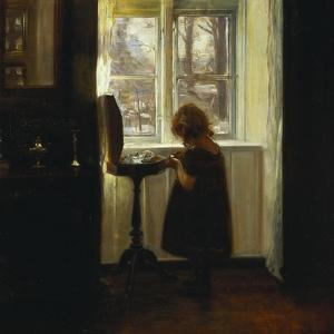 A Girl Standing by a Sewing Table by Carl Holsoe