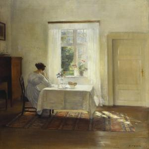 A Woman Seated at a Table by a Window by Carl Holsoe