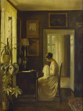 An Interior with a Woman Sewing by Carl Holsoe