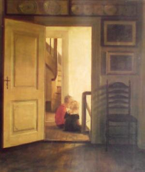 Children in Interior by Carl Holsoe