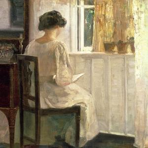 Girl Reading in a Sunlit Room by Carl Holsoe