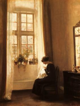 Girl Sewing in an Interior by Carl Holsoe