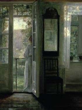 Girl Standing on a Balcony by Carl Holsoe