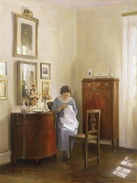 Interior with Lady Sewing, c.1910 by Carl Holsoe