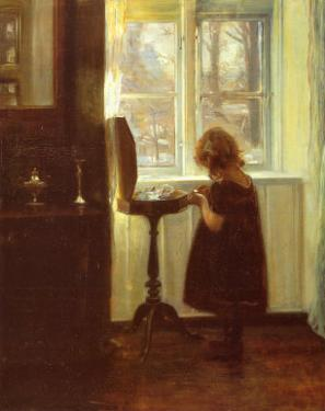 Small Girl by a Sewing Table by Carl Holsoe
