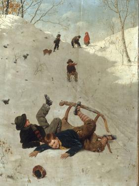 Children Playing in the Snow by Carl Kronberger