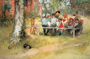 Breakfast Under the Birch Trees by Carl Larsson