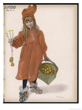 Brita with Candles and Apples by Carl Larsson