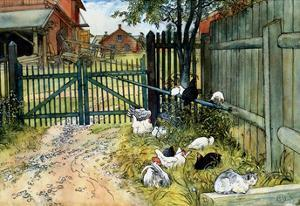 Chickens in the Yard, 1904 by Carl Larsson