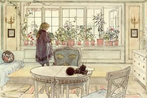 Flowers on the Windowsill, from 'A Home' Series, C.1895 by Carl Larsson