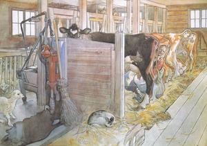Johana Milking the Cows by Carl Larsson