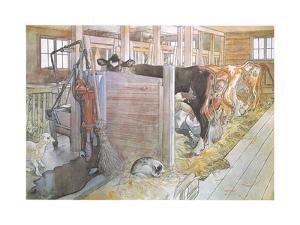 Johana Milking the Cows by Carl Larsson