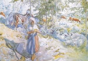 Last of All Came Little Kertsi with a Willow Twig to Drive the Cows by Carl Larsson