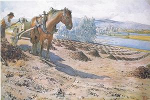 Muck Spreading on a Fallow Field by Carl Larsson