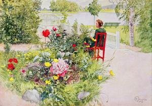 Summer in Sundborn, 1913, from a Commercially Printed Portfolio, Published in 1939 by Carl Larsson