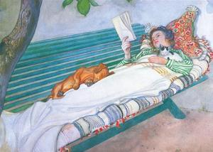 Woman Lying on a Bench by Carl Larsson
