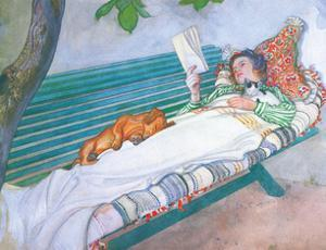 Woman Reading on a Bench, with Cat & Dog by Carl Larsson