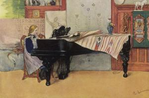 Young Member of the Larson Household Does Her Piano Practice While Papa Paints Her by Carl Larsson:
