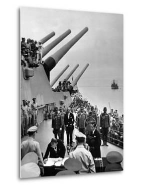Aboard USS Missouri as Japanese Mamoru Shigemitsu Signs Official Surrender Documents Ending WWII by Carl Mydans