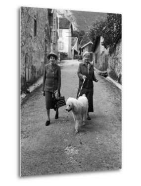 "Alice B. Toklas and Author Gertrude Stein, Walking Poodle ""Basket"" During Liberation from Germans by Carl Mydans"