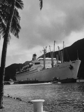 "American Matson Line Cruiser ""Mariposa"" Arriving in Pago Pago by Carl Mydans"