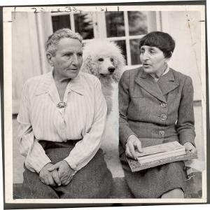 Author Gertrude Stein Sitting with Alice B. Toklas at a Villa by Carl Mydans