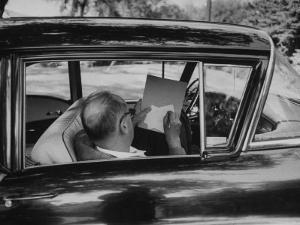 Author Vladimir Nabokov at Work, Writing on Index Cards in His Car by Carl Mydans