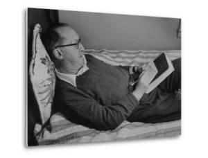 Author Vladimir Nabokov Writing in a Notebook on the Bed by Carl Mydans