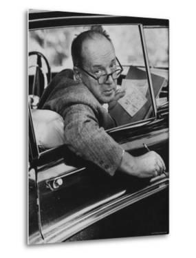 Author Vladimir Nabokov Writing in His Car. He Likes to Work in the Car, Writing on Index Cards by Carl Mydans